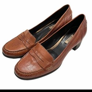 Ecco Leather Heeled Penny Loafer